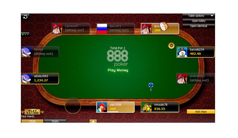 A practice mode game at 888poker.
